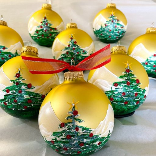 Christmas Tree personalized hand-painted Christmas ornament
