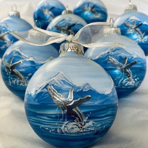 Humpback Whale personalized hand-painted Christmas ornament