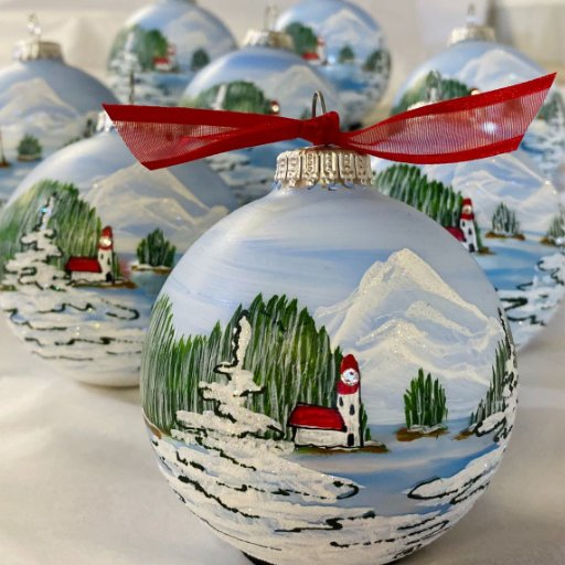 Lighthouse Christmas personalized hand-painted Christmas ornament