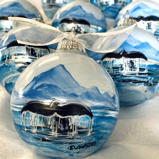 Whale Tail Silver personalized hand-painted Christmas ornament