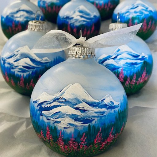 Mountains and Fireweed personalized hand-painted Christmas ornament