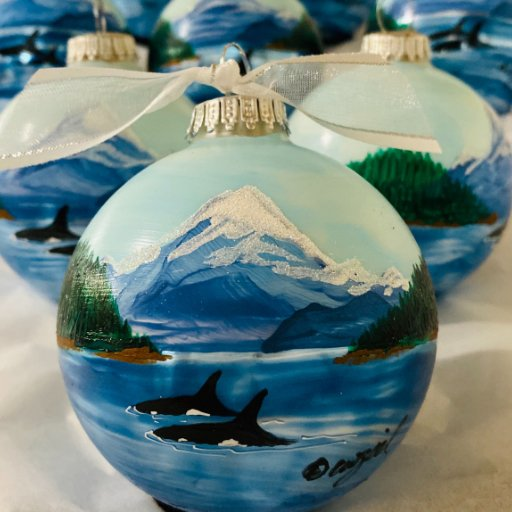 Orca Pass personalized hand-painted Christmas ornament
